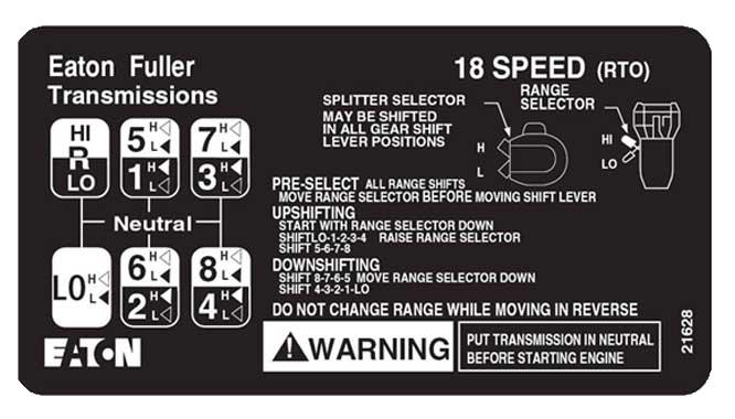 Eaton Fuller 18 speed transmission shift pattern